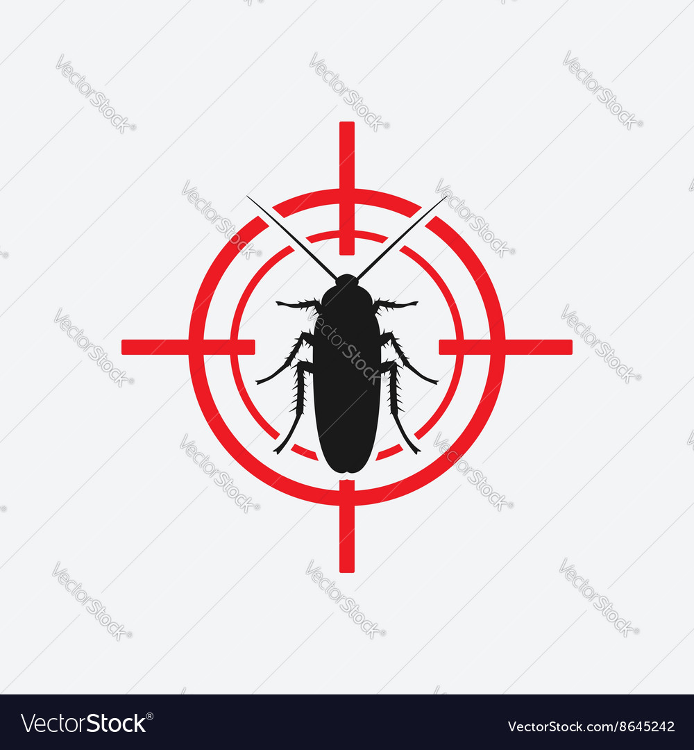Cockroach icon red target vector