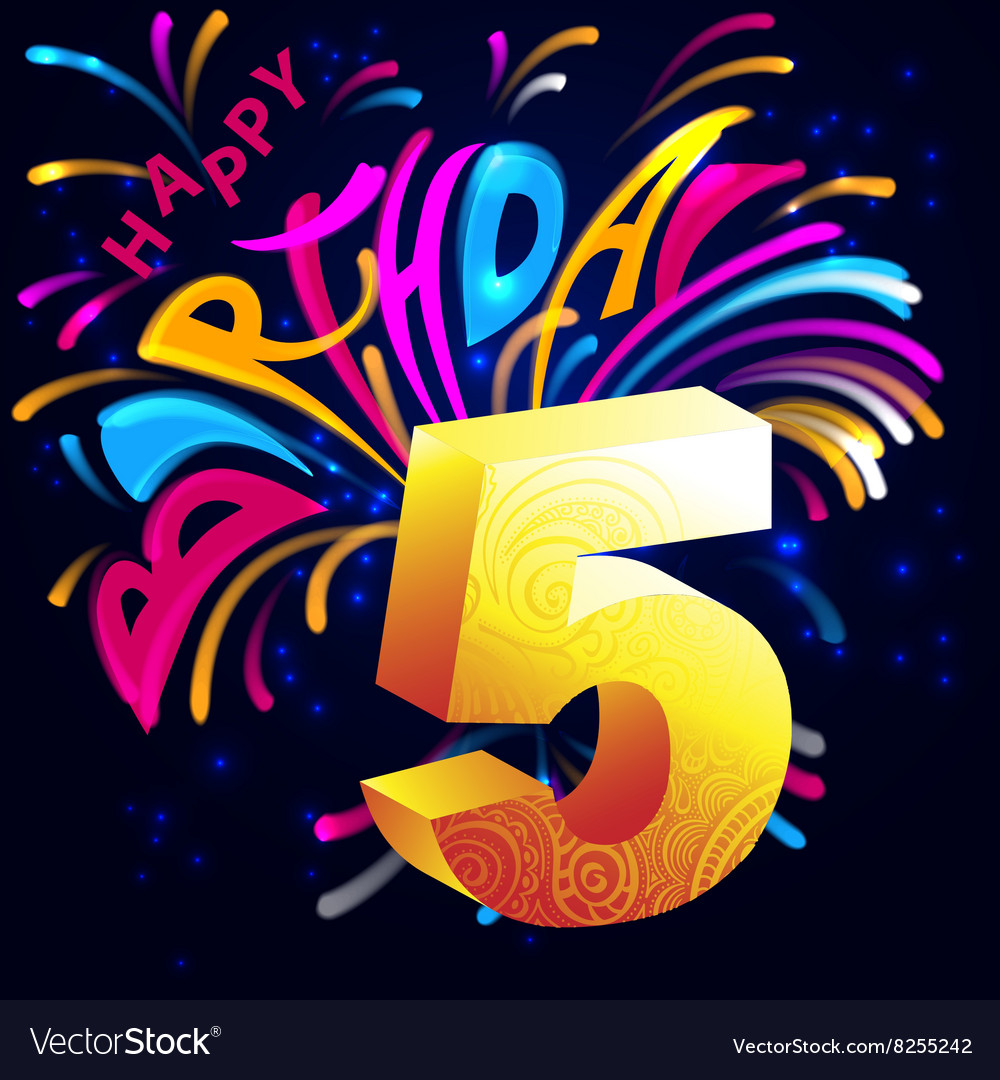 Fireworks happy birthday with a gold number 5 vector