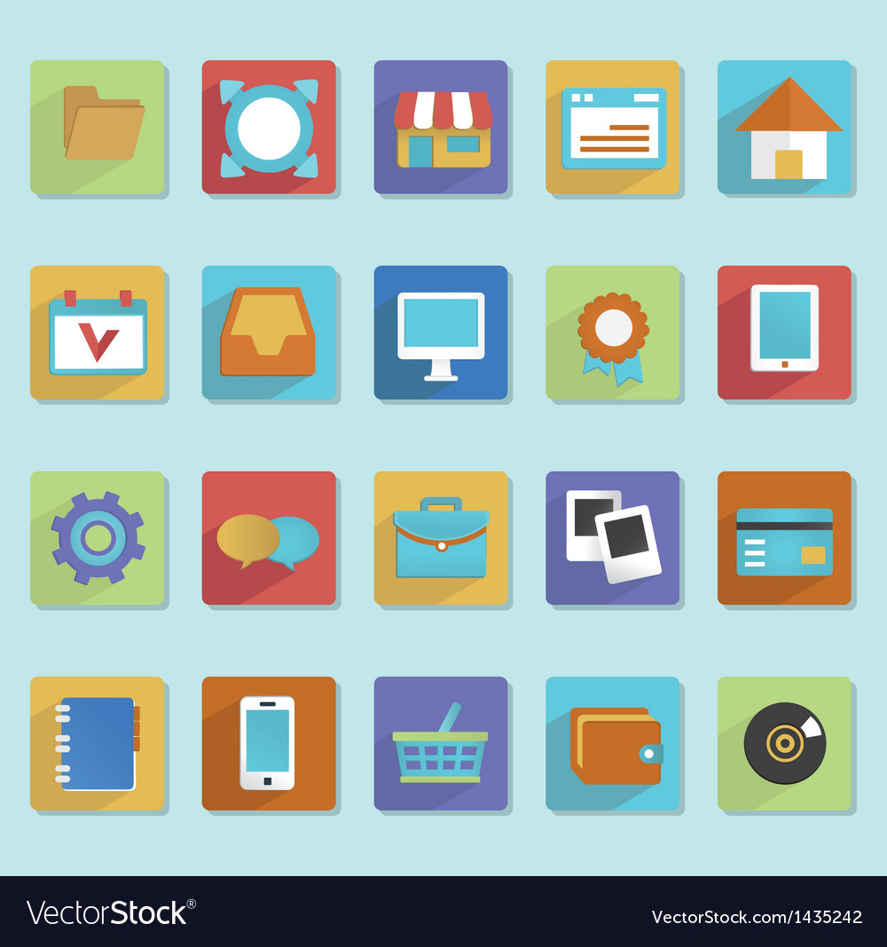 Flat icons for web design  part 1 vector