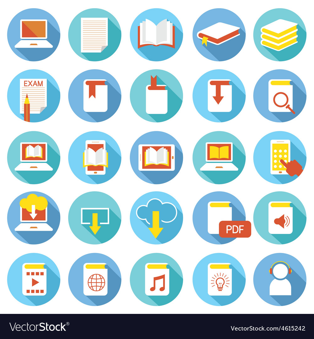 School online elearning ebook book icons set vector
