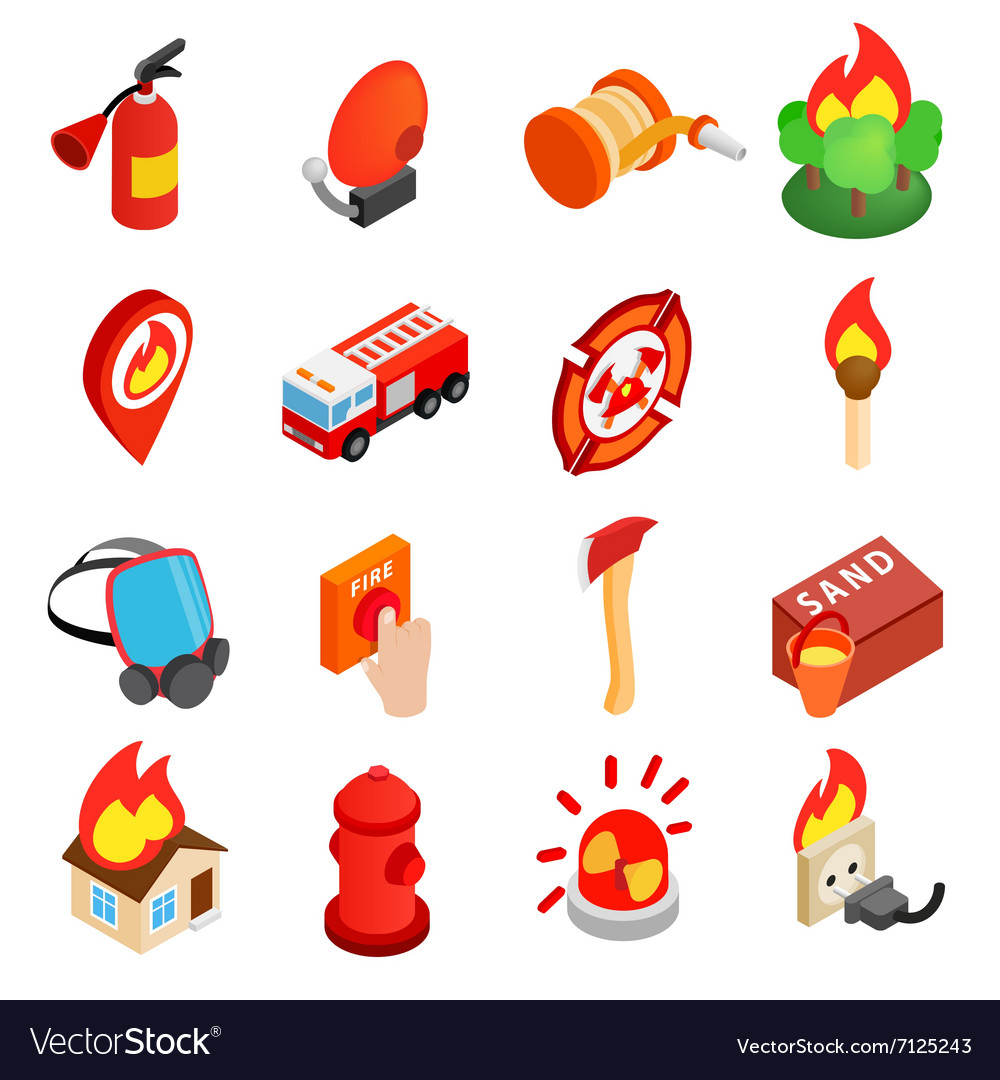 Firefighter isometric 3d icon vector