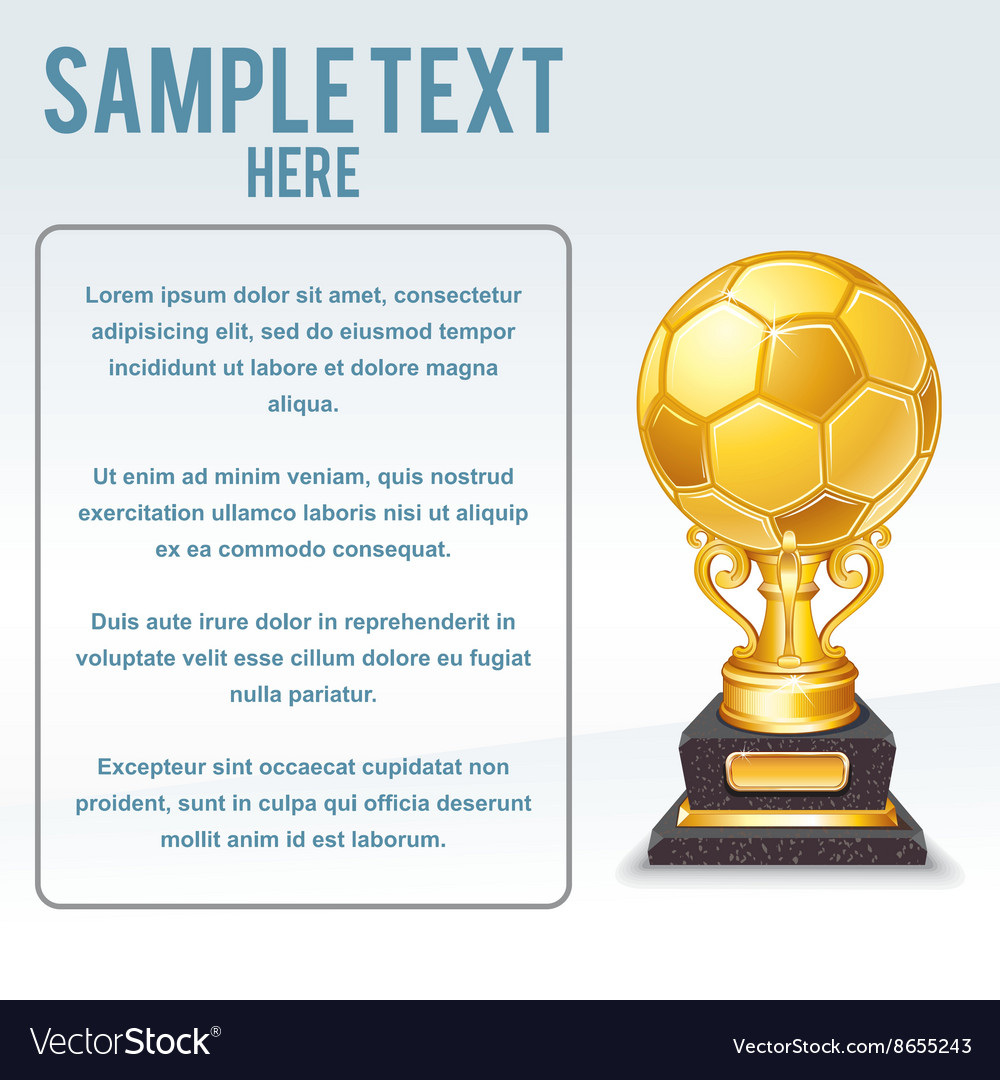 Golden soccer cup ready for your text vector
