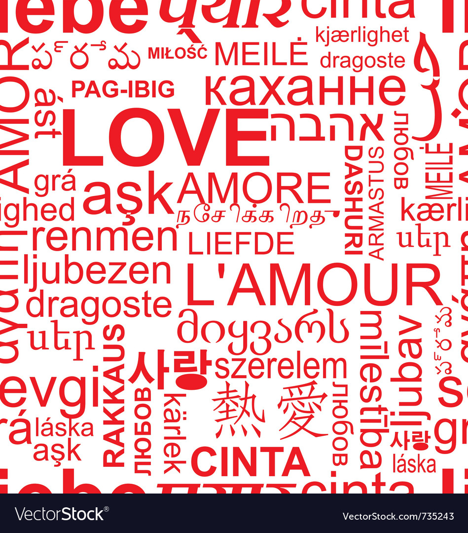 Seamless love background  word collage vector
