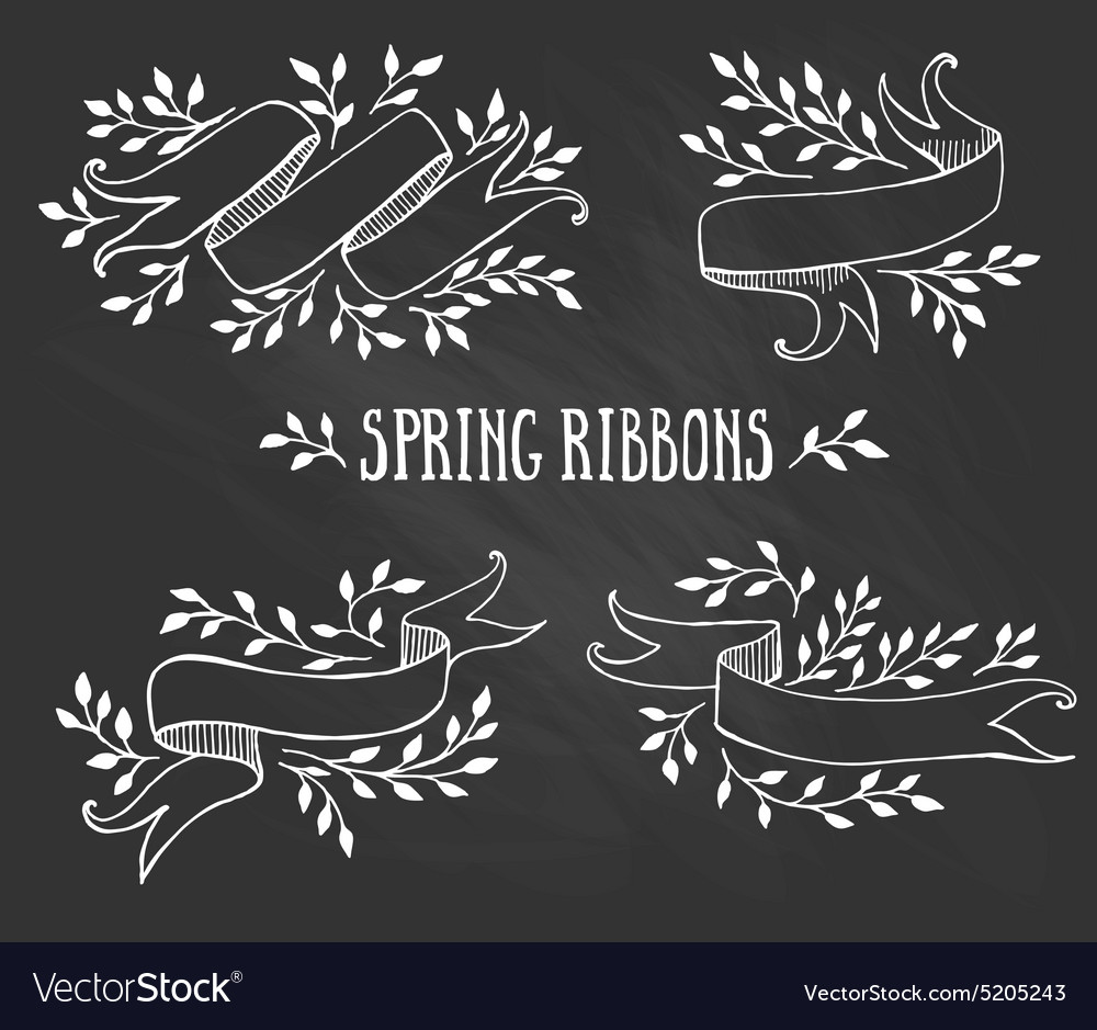 Set of chalk spring ribbons with leaves vector