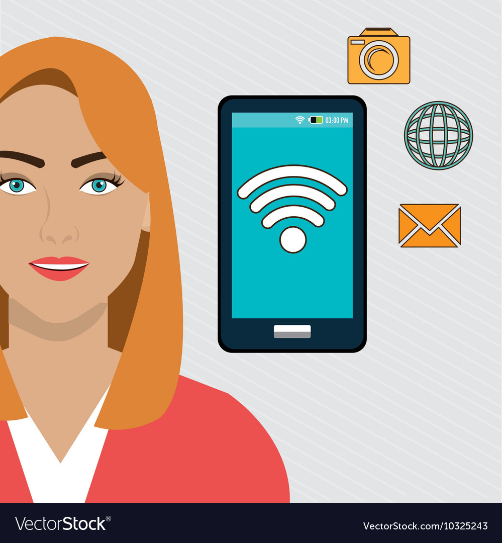 Woman smartphone app global vector