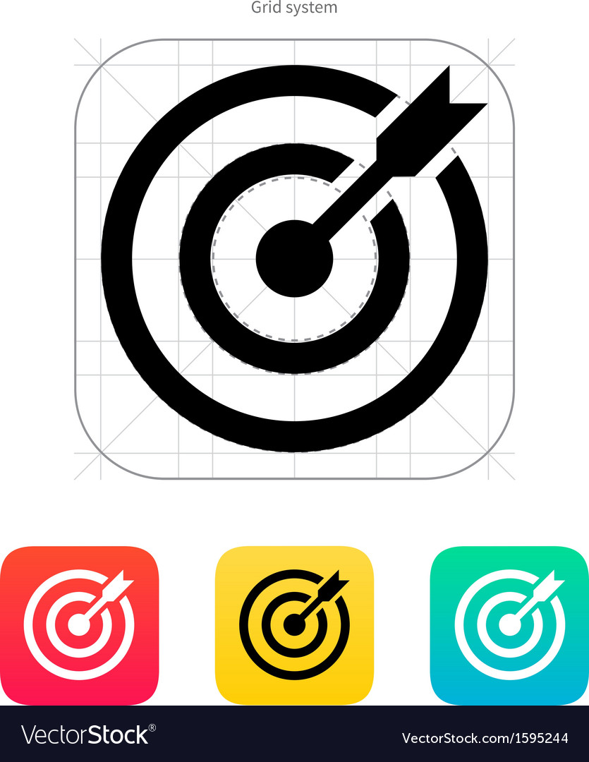 Darts target aim icon successful shoot vector