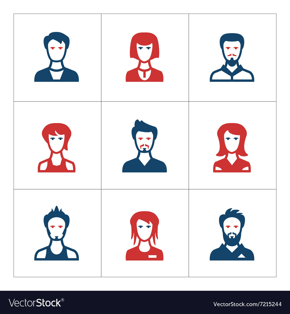 Set color icons of people vector