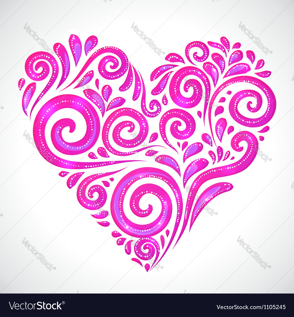 Rose shining heart on white background vector