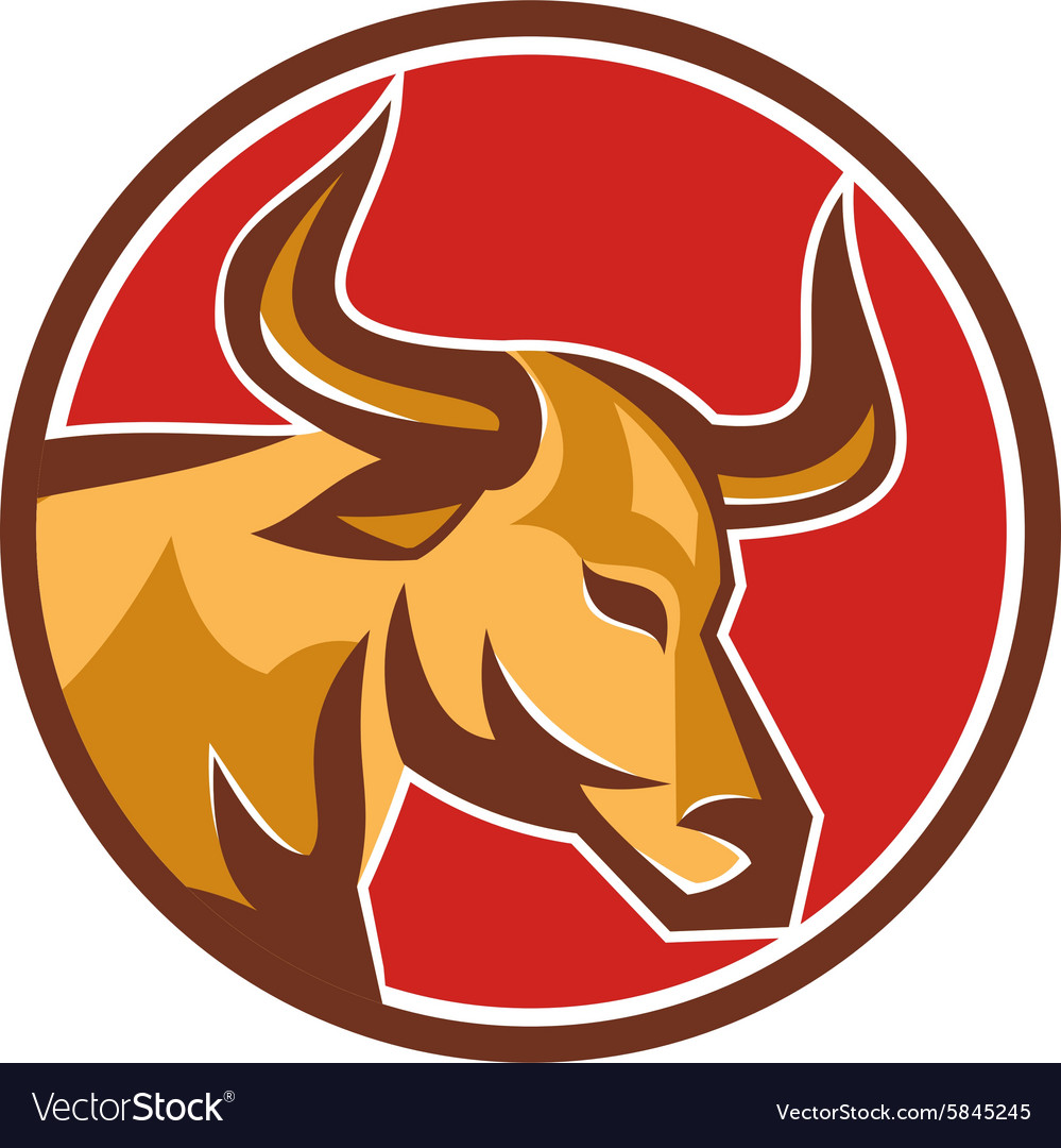 Texas longhorn bull head circle retro vector