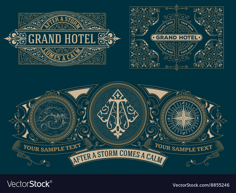 Set of vintage cards template vector