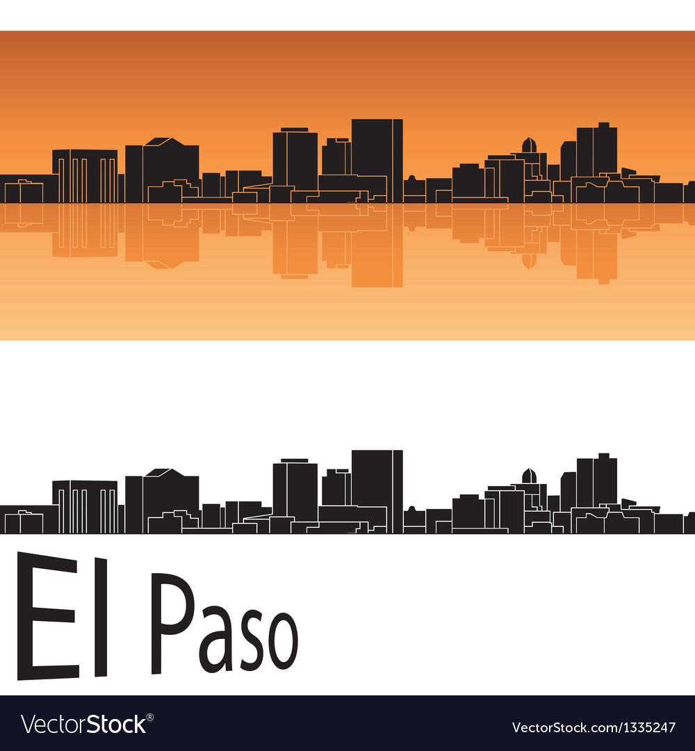 El paso skyline in orange background vector