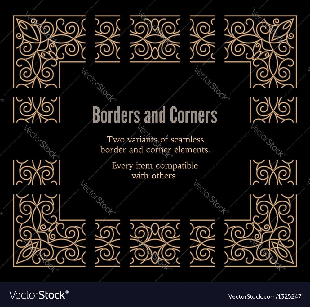 Gold borders and corners vector