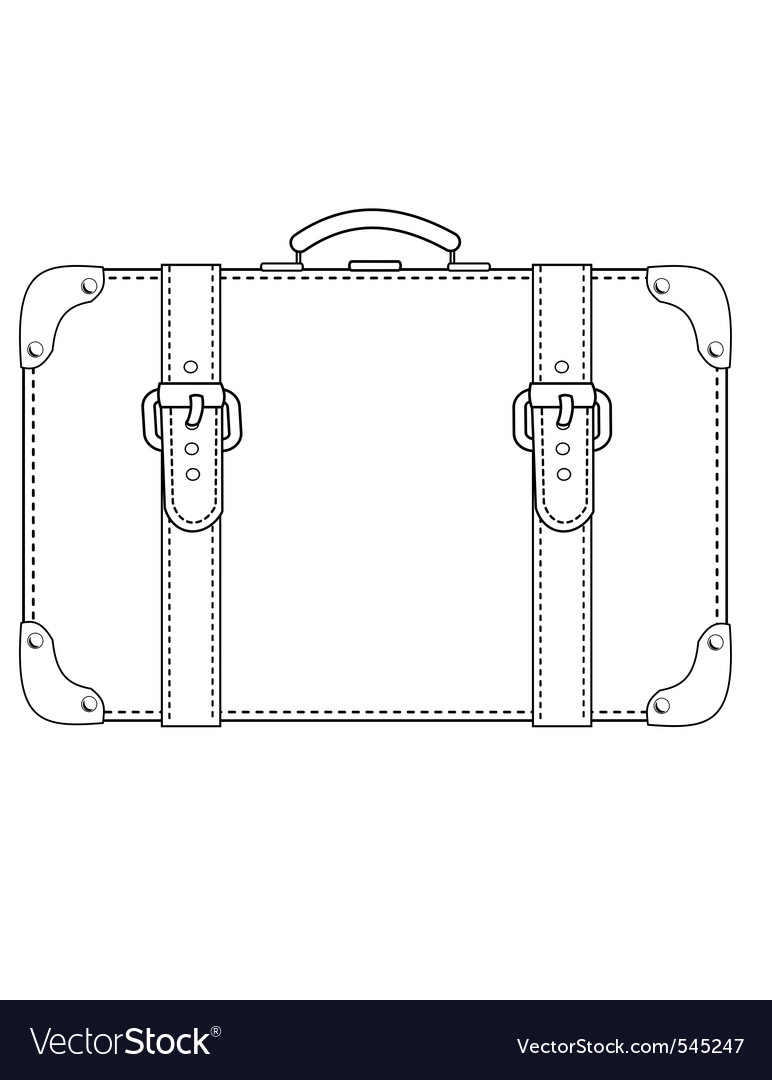 Leather suitcase contour vector