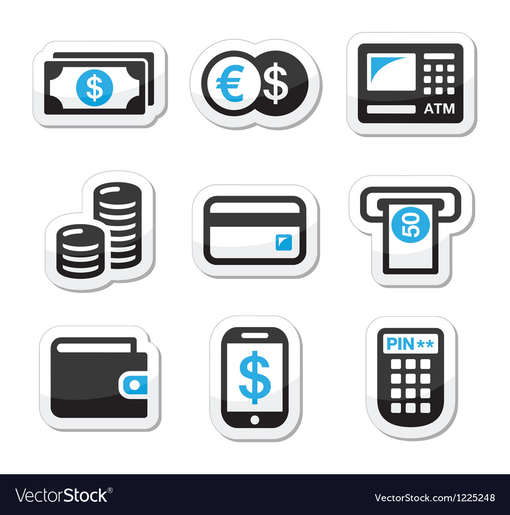 Money atm cash machine icons set vector