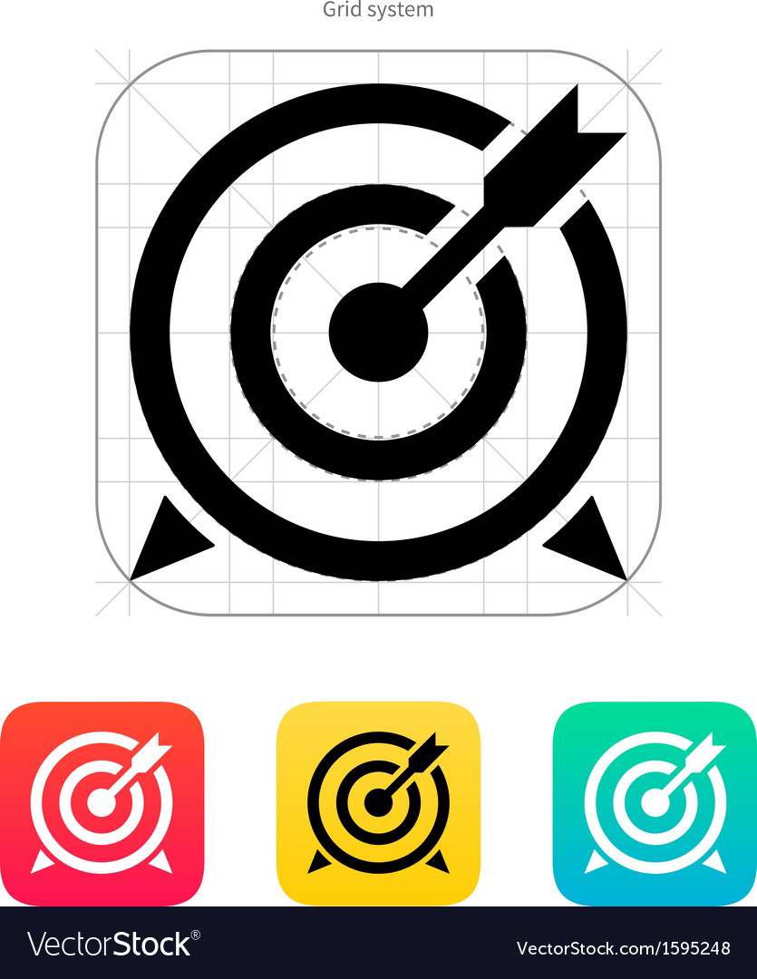 Target with arrow icon vector