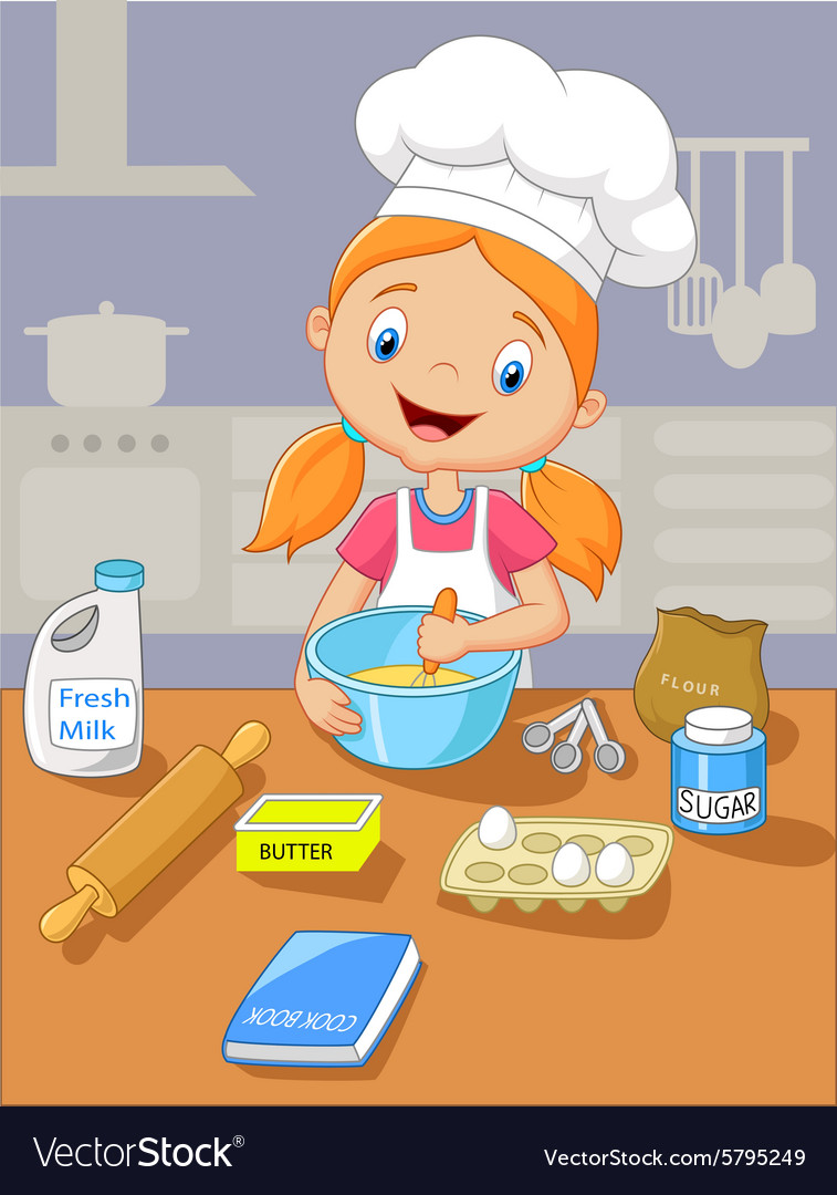 Cartoon little girl holding batter cake vector
