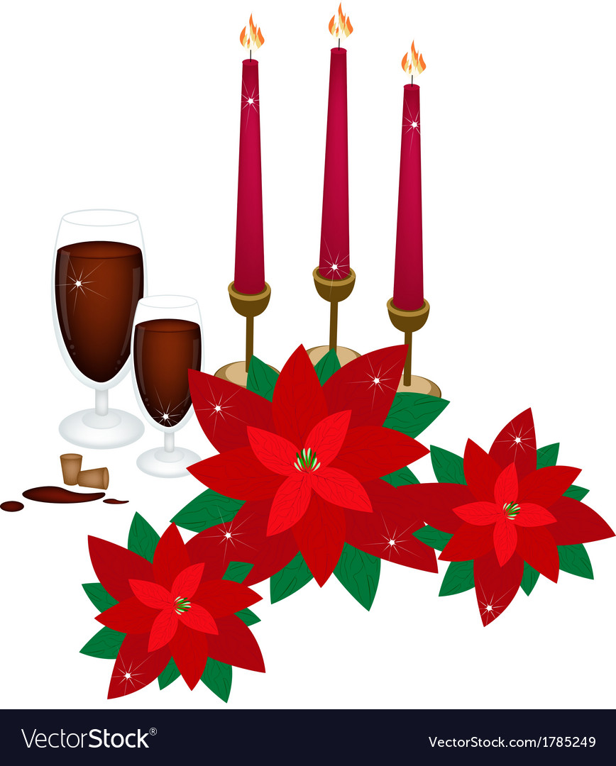 Christmas candles with red poinsettia flowers vector