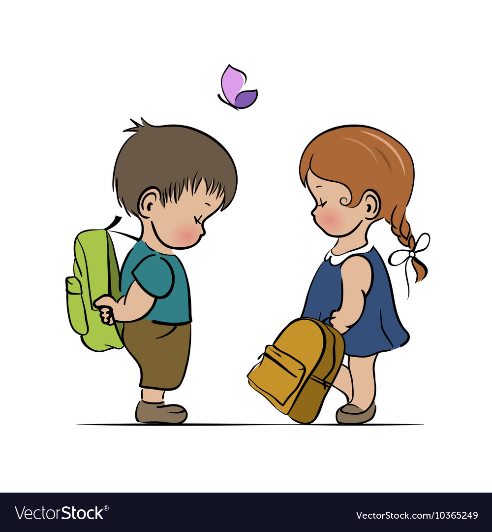 Little boy and girl with backpacks vector