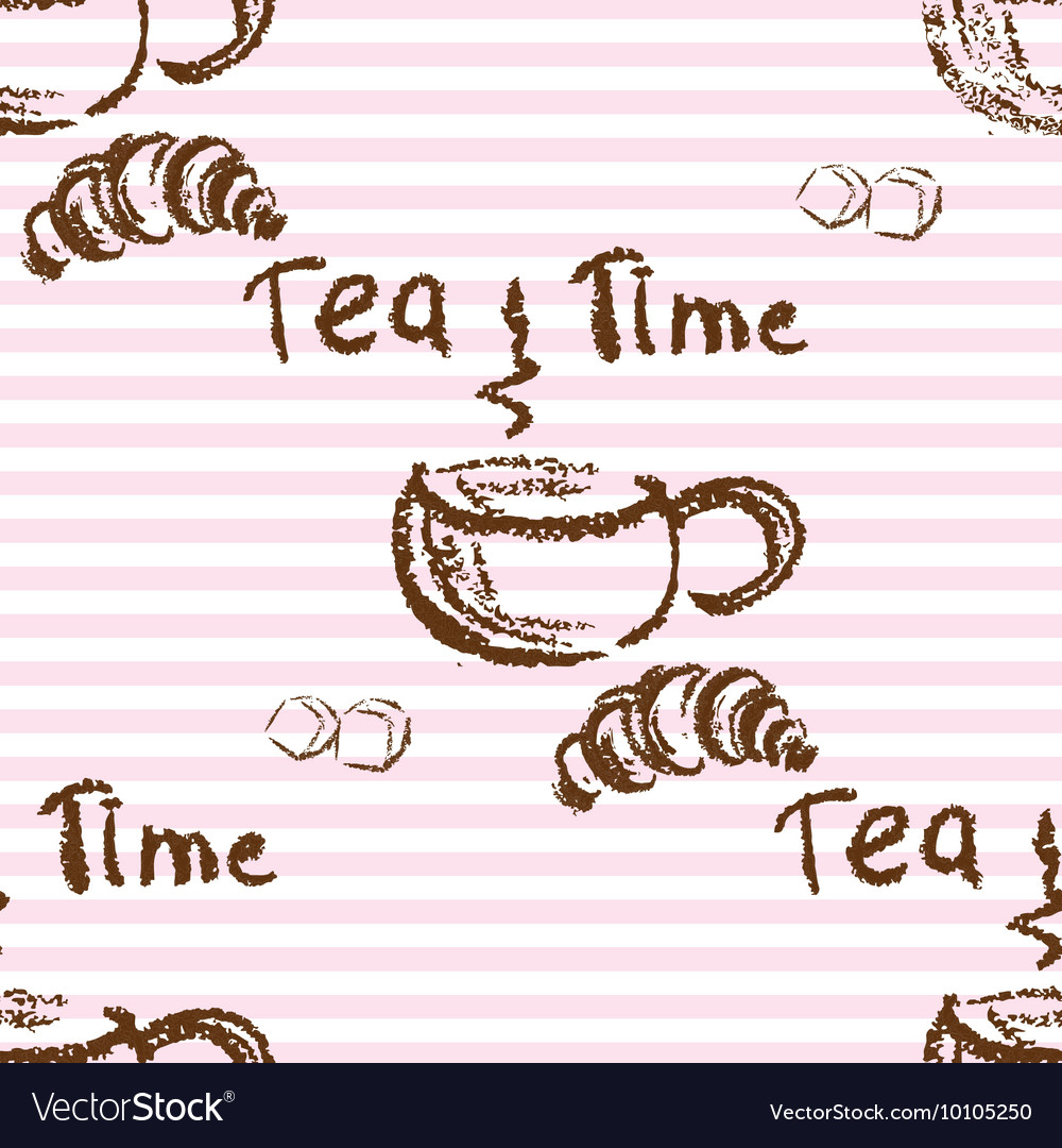 Tea time vintage seamless background vector