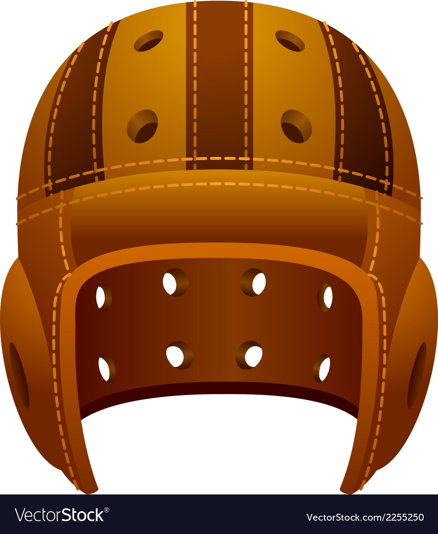 Vintage old leather american football helmet vector