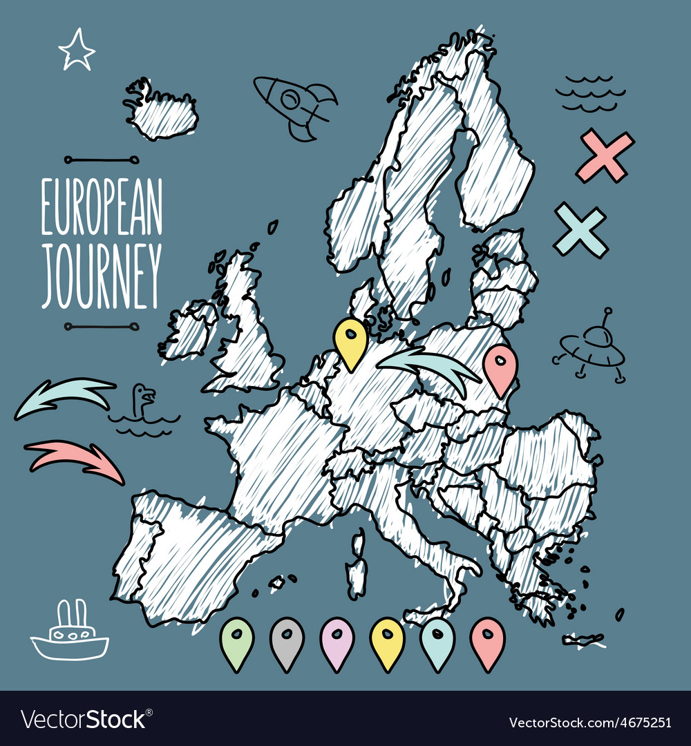 Doodle europe map on navy chalkboard with pins and vector