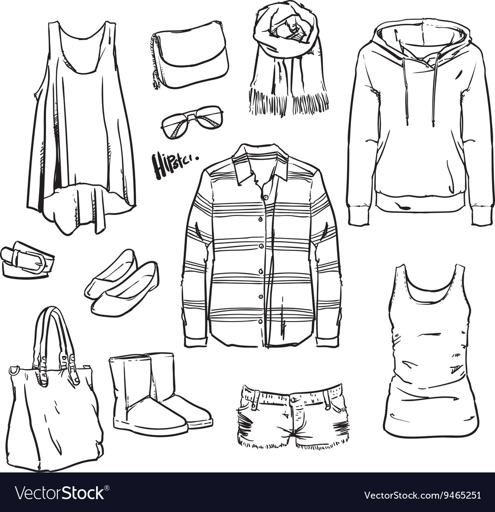 Hand drawn clothing and accessories vector