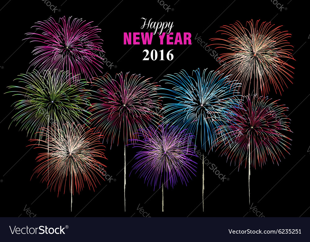 Happy new year 2016 fireworks night poster vector