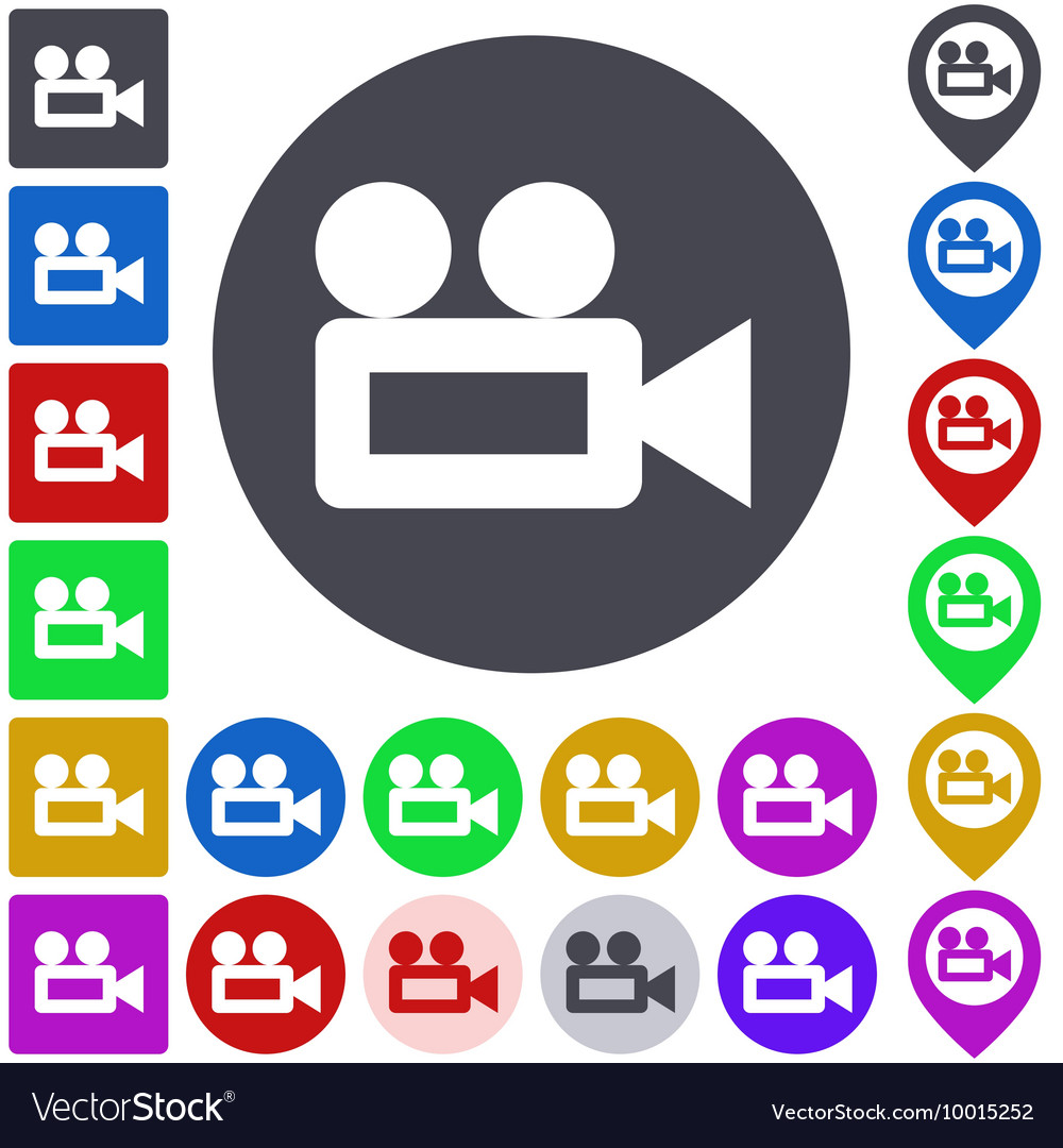 Video camera icon set vector