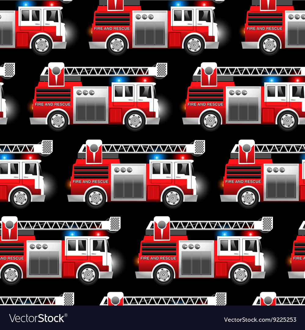 3d of a red fire and rescue truck seamless pattern vector