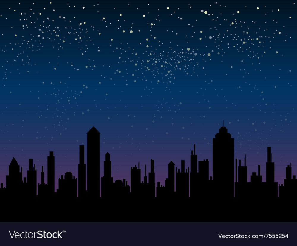 Silhouette of the city star sky eps 10 vector