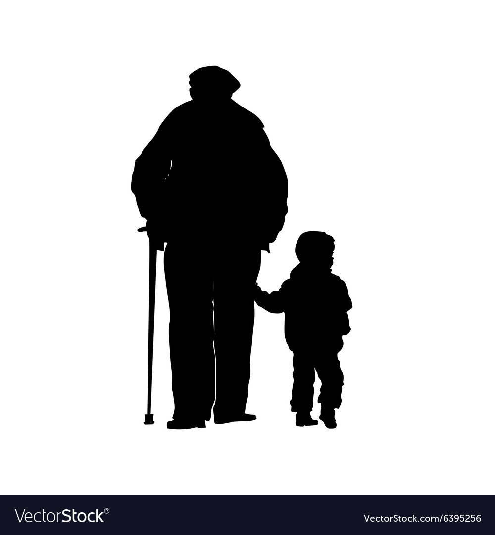 An old man with a stick and a small child vector
