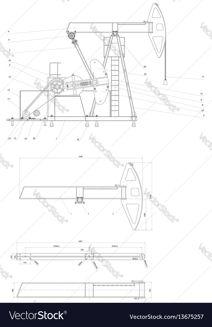 Engineering drawing of the pumping unit vector
