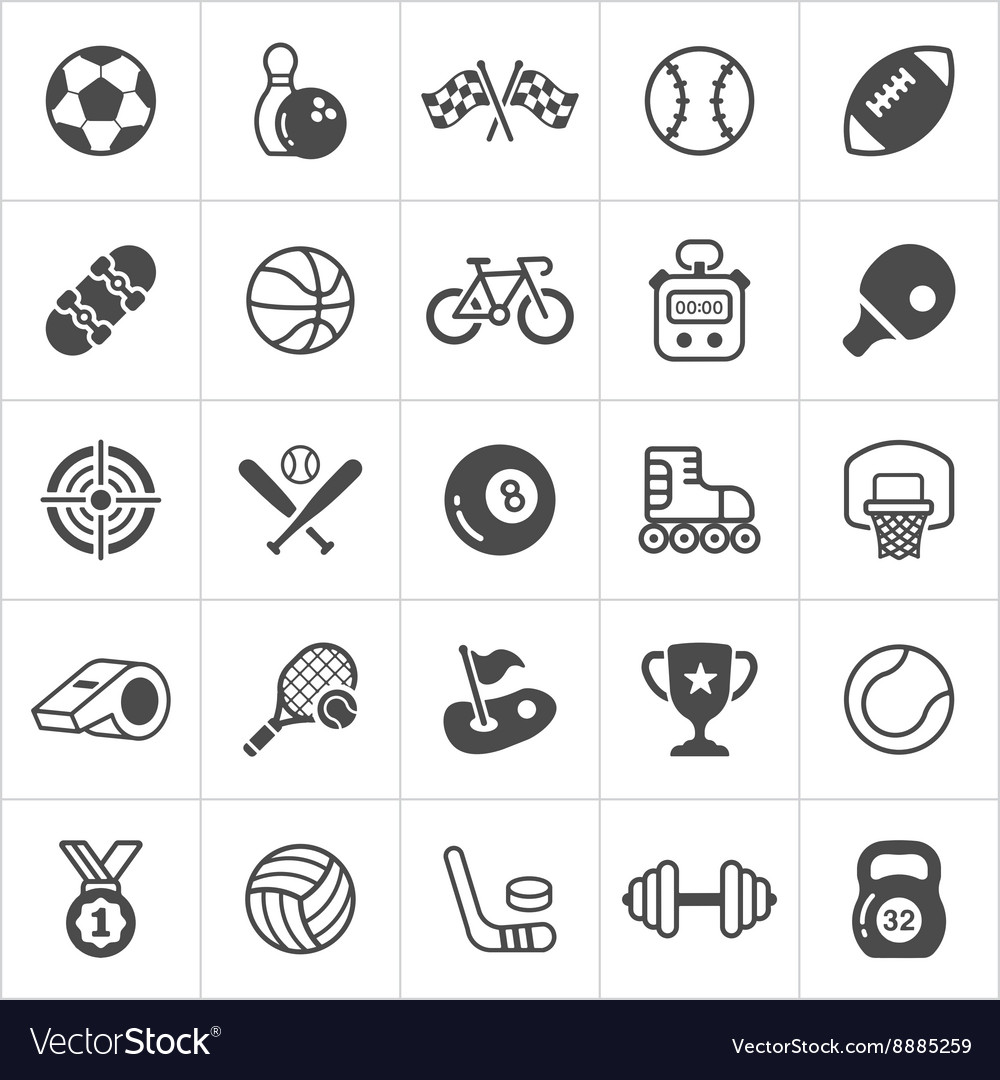 Trendy sport flat icons vector