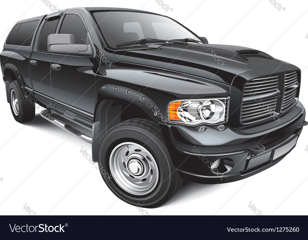 Black large pickup vector