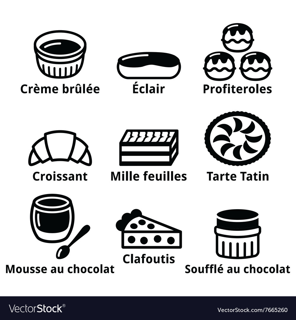 French dessert pastry and cakes icons  creme bru vector