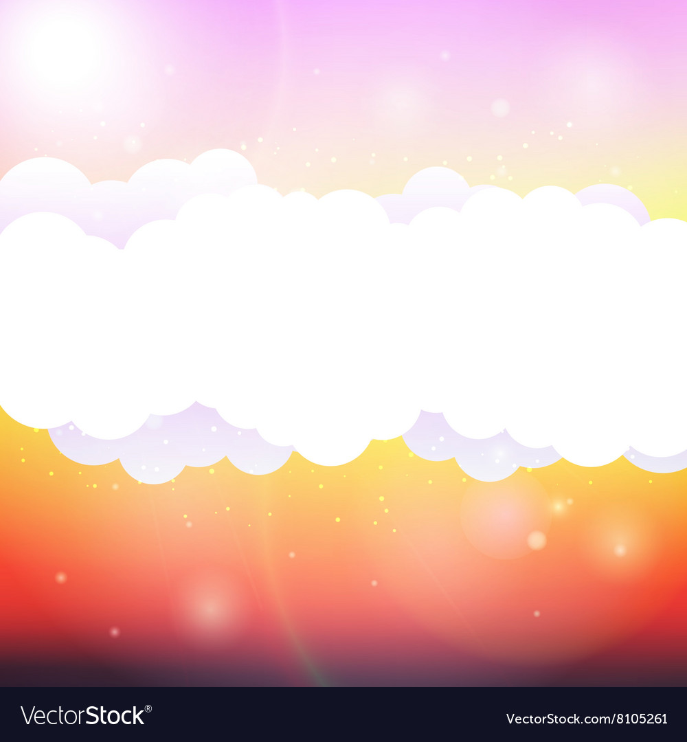 Sky clouds and sun with rays vector