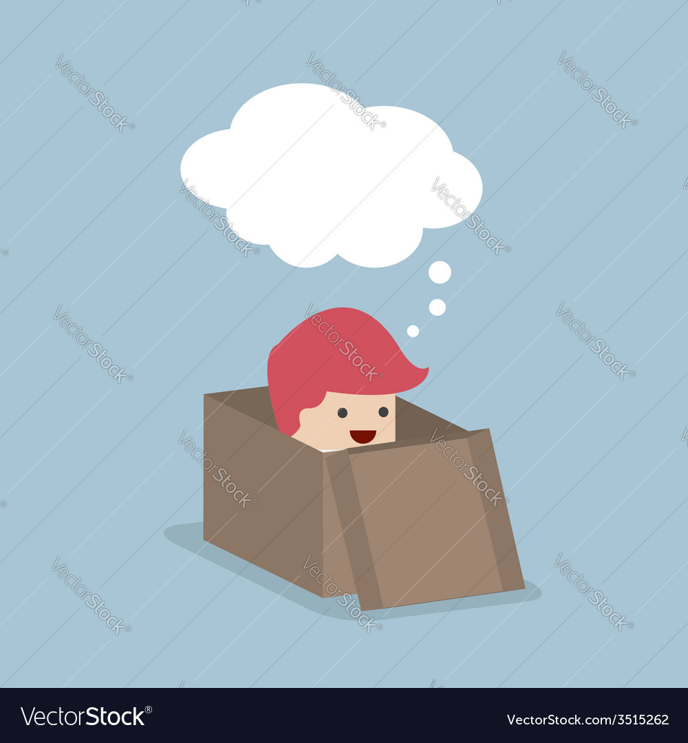 Businessman think outside the box vector