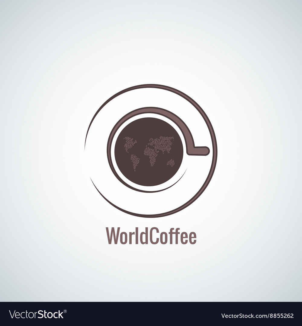 Coffee cup world map concept background vector