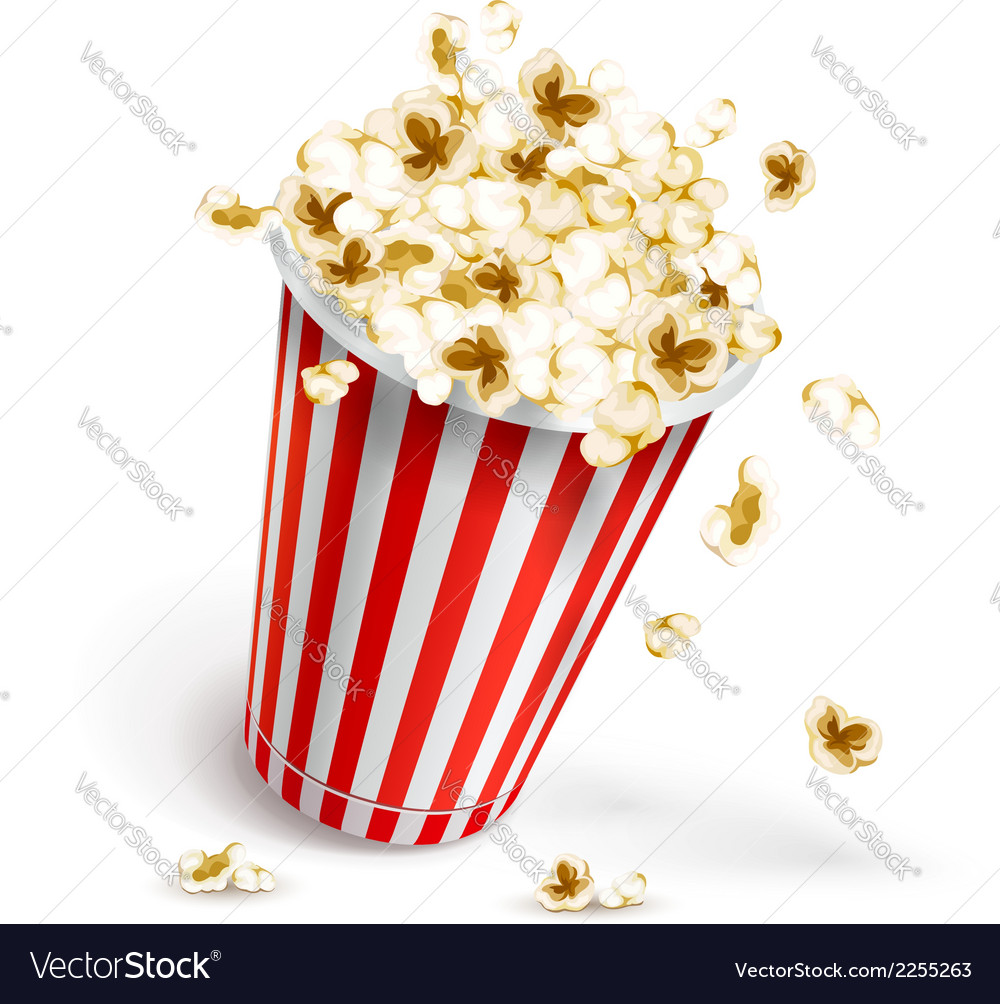 Paper glass full of popcorn vector