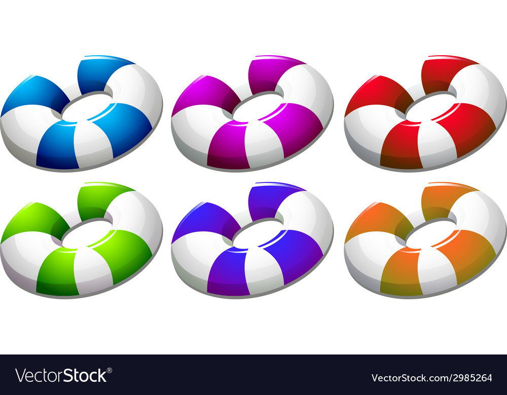 Six colourful buoys vector
