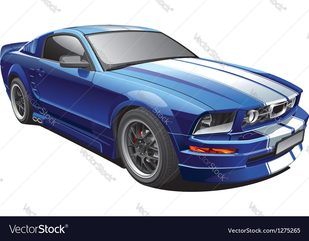Blue muscle car vector