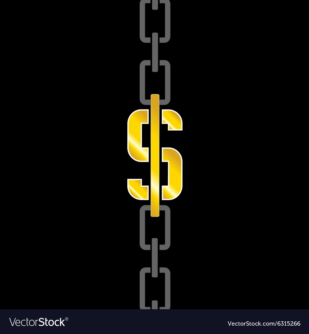 Chains with dollar steel vector