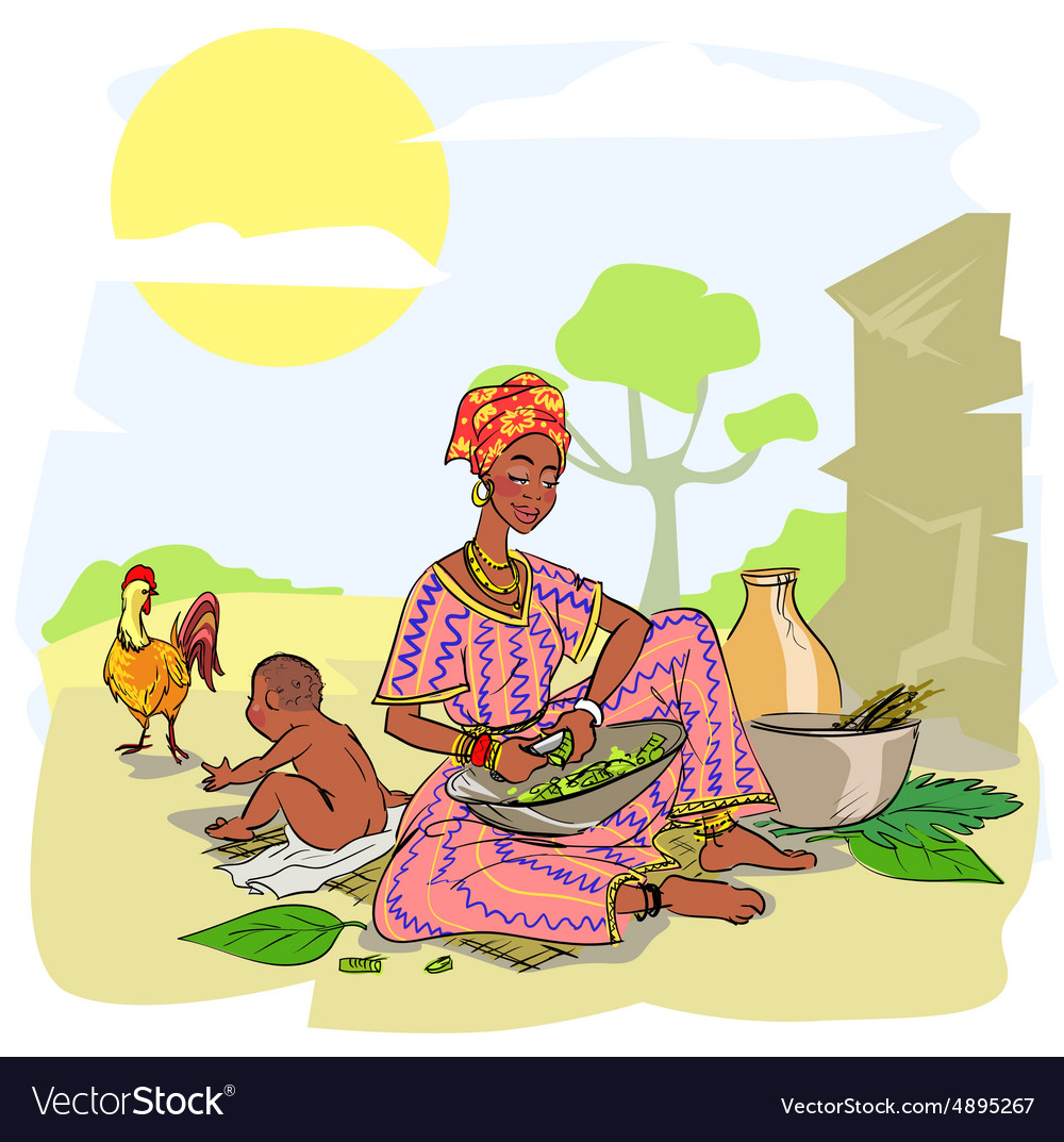 African woman with baby vector