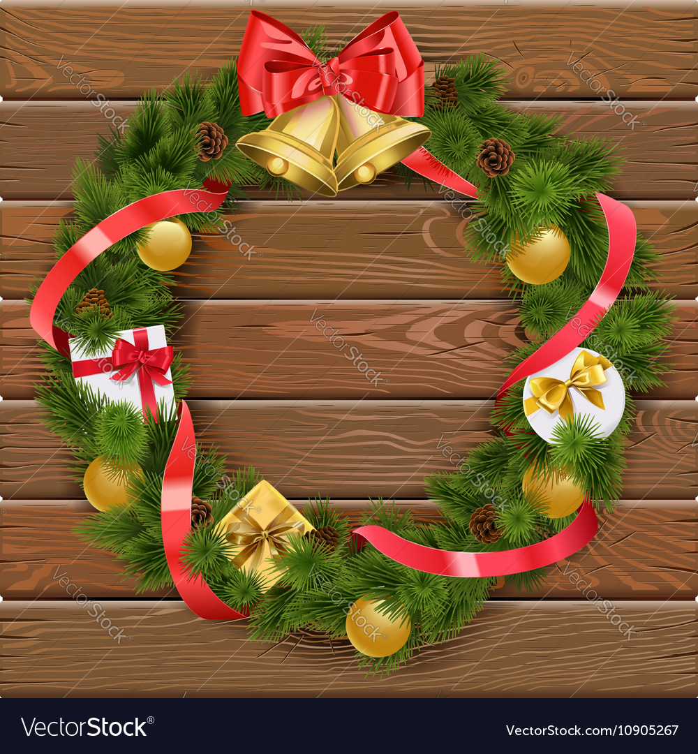 Christmas wreath on wooden board 4 vector