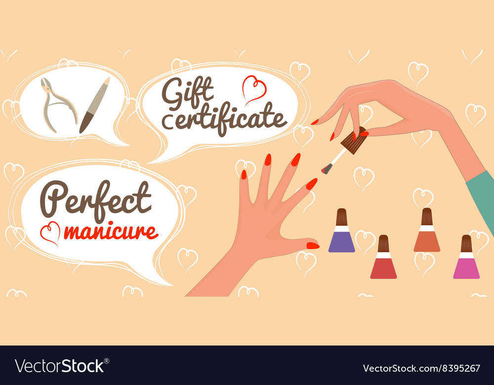 Gift certificate perfect manicure nail salon vector