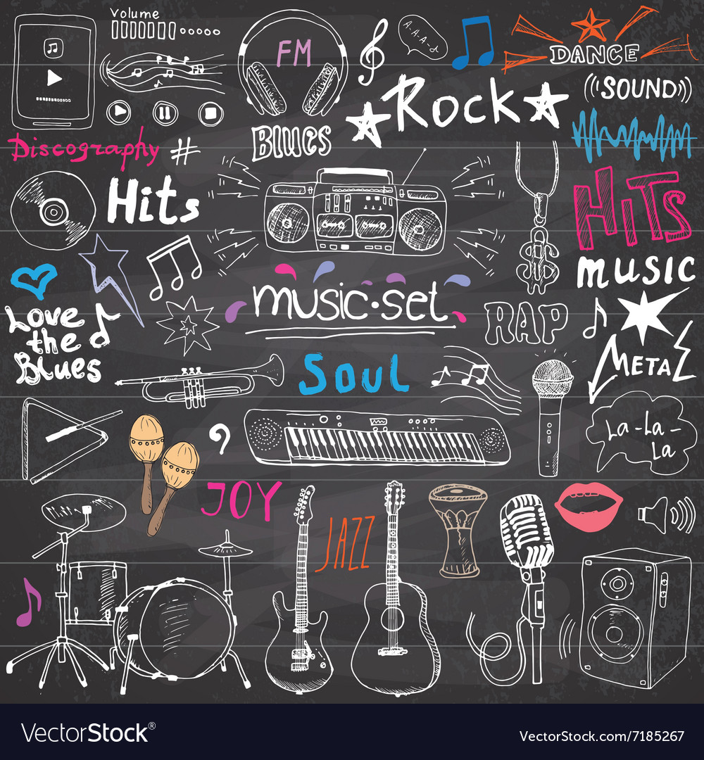 Music items doodle icons set hand drawn sketch vector