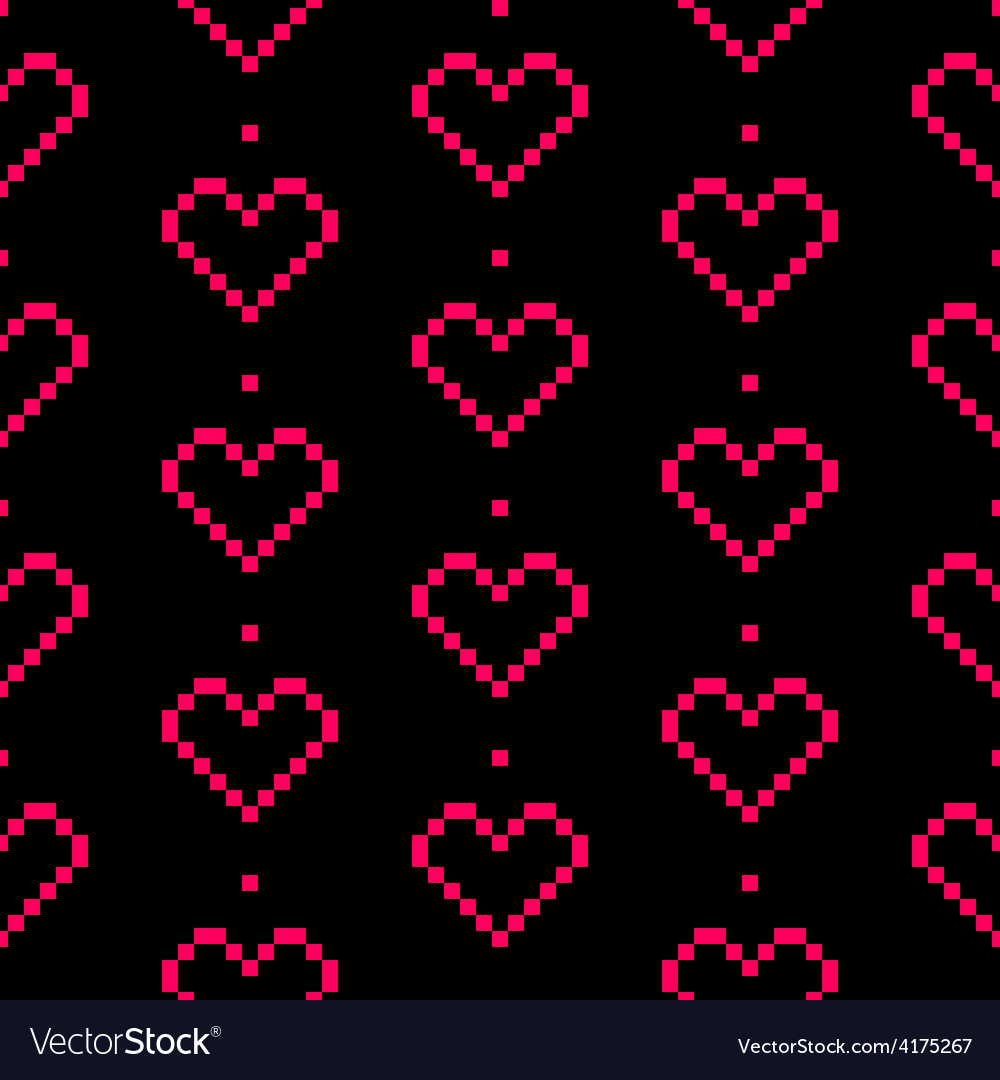 Seamless pixel heart pattern for valentines day vector