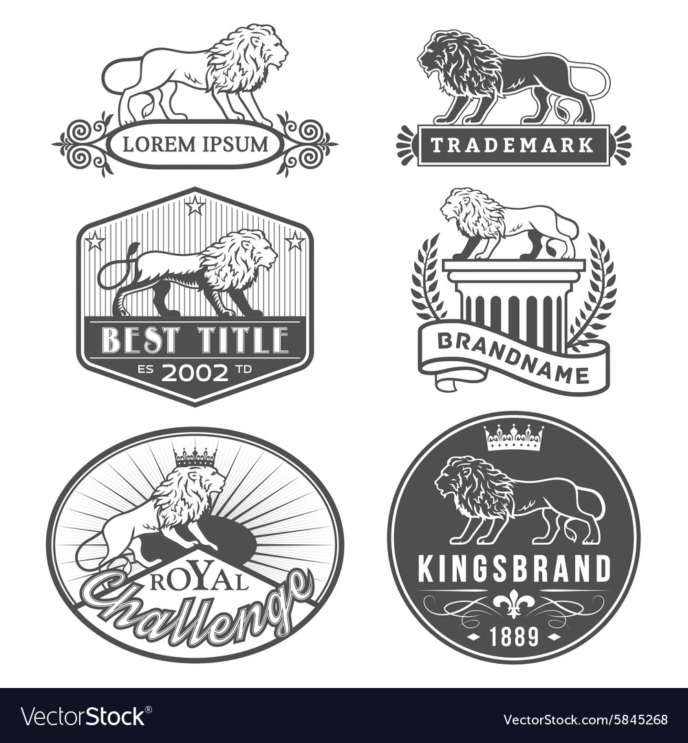 Lion labels vector