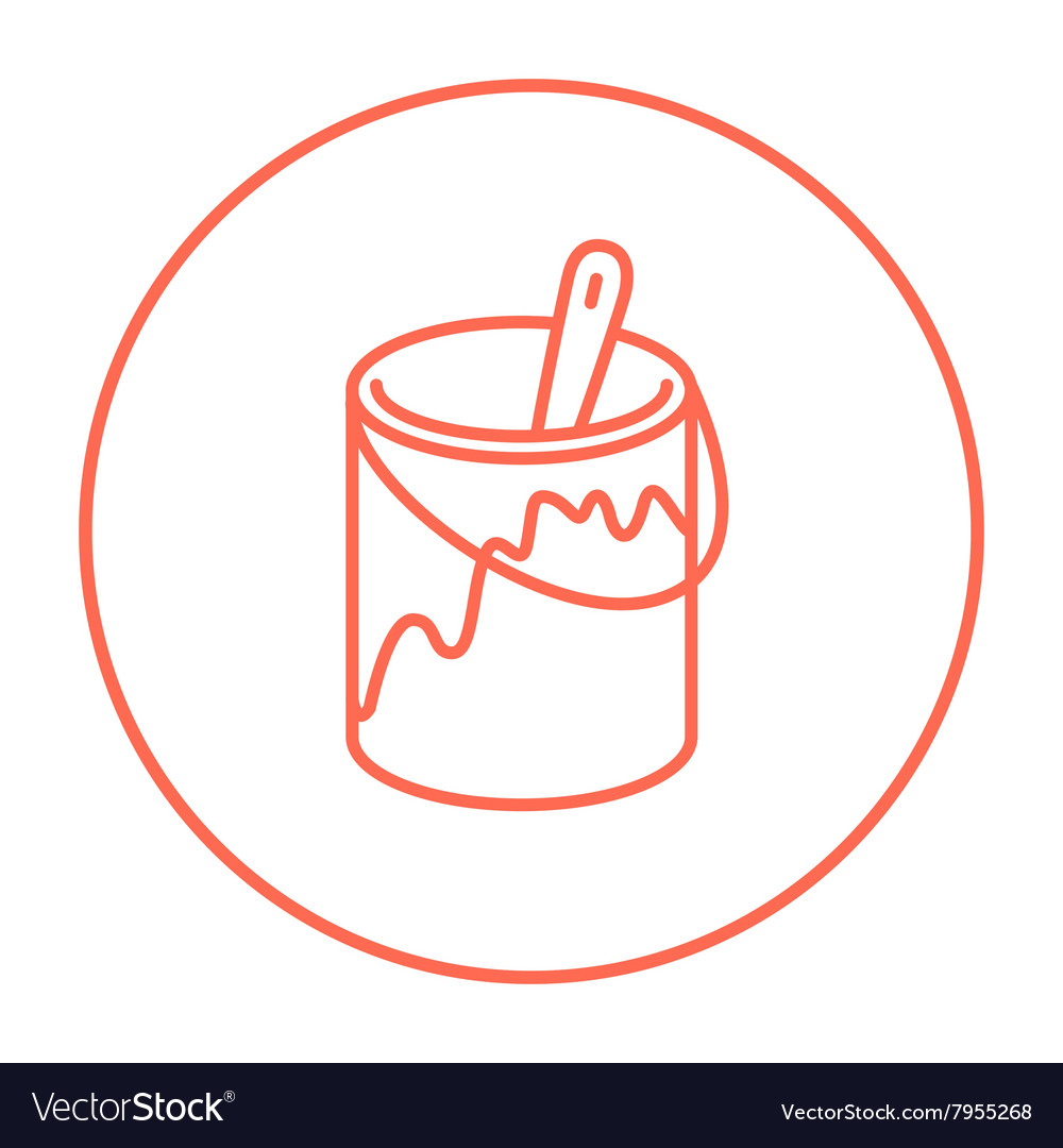 Paint brush in the paint tin line icon vector