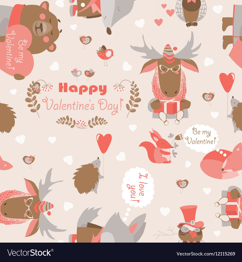 Seamless valentines pattern with fun animals vector